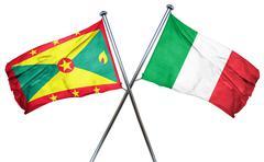 Grenada flag with Italy flag, 3D rendering Stock Illustration