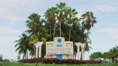 Miami Florida South Beach Welcome Sign 5K Stock Video Footage Stock Footage