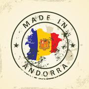 Stamp with map flag of Andorra Stock Illustration