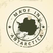 Stamp with map of Antartica - stock illustration
