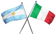 Argentina flag with Italy flag, 3D rendering - stock illustration