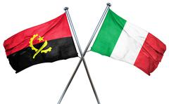 Angola flag with Italy flag, 3D rendering - stock illustration