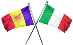 Andorra flag with Italy flag, 3D rendering - stock illustration