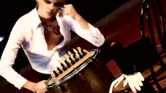 Man in theatrical play chess clothes Stock Footage