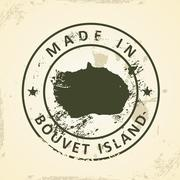 Stamp with map of Bouvet Island Stock Illustration