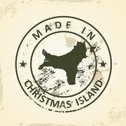 Stamp with map of Christmas Island - stock illustration