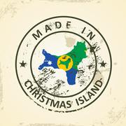 Stamp with map flag of Christmas Island - stock illustration