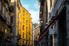 Street view of old town in Naples city, italy Europe - stock photo