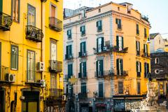 Street view of old town in Naples city, italy Europe Kuvituskuvat