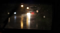 Driving in Car at Night in Heavy Rain Weather Stock Video - stock footage