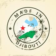 Stamp with map flag of Djibouti - stock illustration