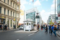 BERLIN, GERMANY-May 18: Checkpoint Charlie. Former bordercross in Berlin on M Stock Photos
