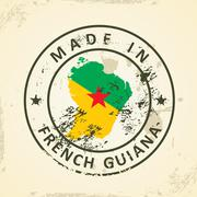 Stamp with map flag of French Guiana Stock Illustration