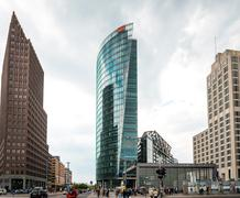 BERLIN, GERMANY- May 18: Potsdamer Platz is an important public square and tr - stock photo