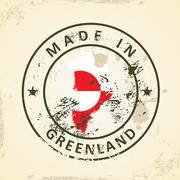 Stamp with map flag of Greenland Stock Illustration