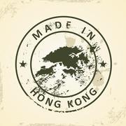 Stamp with map of Hong Kong Piirros