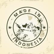 Stamp with map of Indonesia Stock Illustration