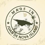 Stamp with map of Juan de Nova Island Stock Illustration