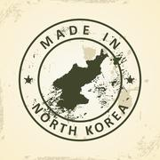 Stamp with map of North Korea Stock Illustration