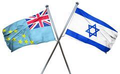 Tuvalu flag with Israel flag, 3D rendering Piirros