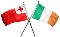 Tonga flag with Ireland flag, 3D rendering - stock illustration