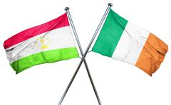 Tajikistan flag with Ireland flag, 3D rendering - stock illustration