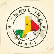 Stamp with map flag of Mali Stock Illustration