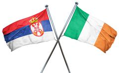 Serbia flag with Ireland flag, 3D rendering - stock illustration