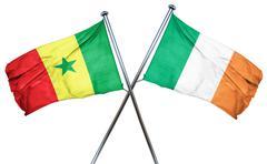 Senegal flag with Ireland flag, 3D rendering - stock illustration