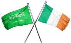 Saudi Arabia flag with Ireland flag, 3D rendering - stock illustration
