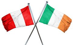Peru flag with Ireland flag, 3D rendering - stock illustration