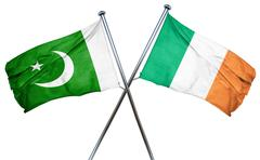 Pakistan flag with Ireland flag, 3D rendering Stock Illustration