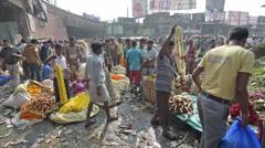 Mallik Ghat flower market in Kolkata, West Bengal, India Stock Footage