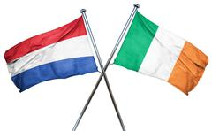 Netherlands flag with Ireland flag, 3D rendering - stock illustration