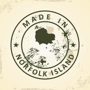 Stamp with map of Norfolk Island Stock Illustration