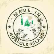 Stamp with map flag of Norfolk Island Stock Illustration