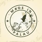 Stamp with map of Palau Stock Illustration