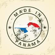 Stamp with map flag of Panama - stock illustration