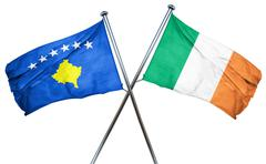 Kosovo flag with Ireland flag, 3D rendering - stock illustration