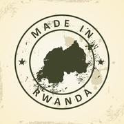 Stamp with map of Rwanda Stock Illustration