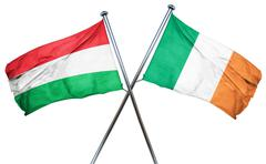 Hungary flag with Ireland flag, 3D rendering Piirros