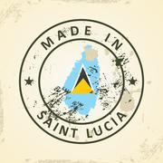 Stamp with map flag of Saint Lucia - stock illustration