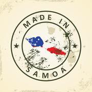 Stamp with map flag of Samoa - stock illustration