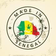 Stamp with map flag of Senegal Stock Illustration