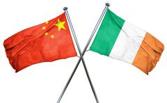 China flag with Ireland flag, 3D rendering Piirros