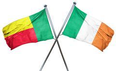 Benin flag with Ireland flag, 3D rendering - stock illustration