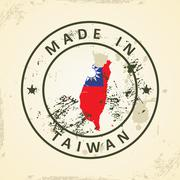 Stamp with map flag of Taiwan - stock illustration