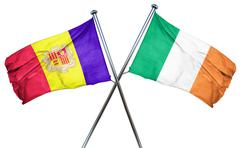 Andorra flag with Ireland flag, 3D rendering - stock illustration