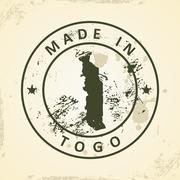 Stamp with map of Togo Stock Illustration