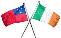 Samoa flag with Ireland flag, 3D rendering - stock illustration